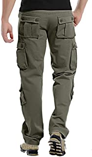Benficial Men's Fashion New Casual Outdoors Button Multi-Pocket Work Trouser Cargo Long Pants
