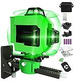 Niveau Laser Vert 360° 4D 16 Lignes,3° Autonivelant Laser Chantier,Croix Niveau Laser avec 4 Batteries Support Luminosité Laser Réglable,Magnétique,Rotatif,Table Elévatrice,Télécommande,Chargeur,Sac