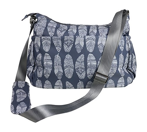 Diaper Bag Purse & matching Changing Pad in Premium Gray Nylon w/ 11 Pockets Insulated for Baby Bottles Silver Tone Hardware Perfect Spacious Crossbody Hobo Bags for Moms Grey Feathers Stroller Straps