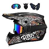 Lalagou - Casco de motocross para adulto, motocross,niños, quad,bike, Go Karting, gafas, guantes/máscara facial, para BMX MTB, ECE y DOT (Brown, L (56-57 cm)