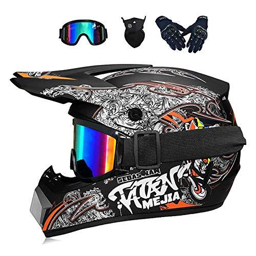 ZHUOYU MX-Helm,Motocross Helm,Downhill Enduro Helm Integralhelm,Fullface Helm,Kinder und Erwachsene Motocross Helmset,MTB Helm,ATV Helm,DOT Zertifizierung,Brille/Handschuhen/Maske (B,M (54-55 cm))