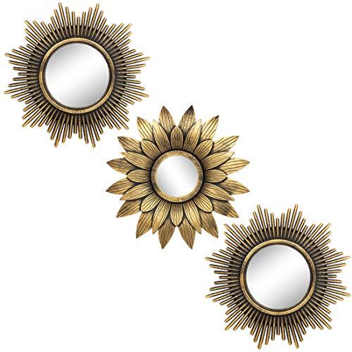 Espejos dorados para decoración de pared Set de 3 – Gran decoración de pared para dormitorio, sala de estar y comedor (M013)
