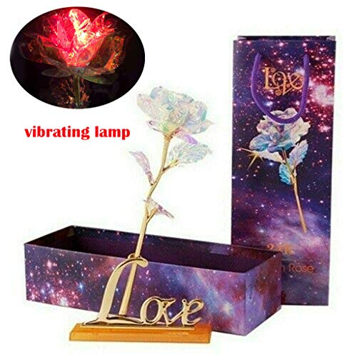 sunnymi ® Beleuchtung Lampe Galaxis Rose Love Base Immerwährender Crystal Muttertagsgeschenk Die Beste Wahl (Vibrierende Lampe)