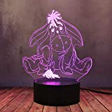 Lovely Eeyore Donkey Pooh Bear Friend 3D Night Light LED 16 Color Novelty Kid Toy Home Bedside Lamp Desk Lighting Kid Baby Christmas Birthday Gift Decor Creative RGB Illusion Flash Bulb