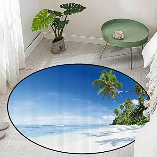 Round Office Chair Floor Mat Foot Pad Beach and Tropical Sea Wooden Deck Floating Boats Sunshine Honeypot Picture Print Diameter 72 inch Kids Rugs