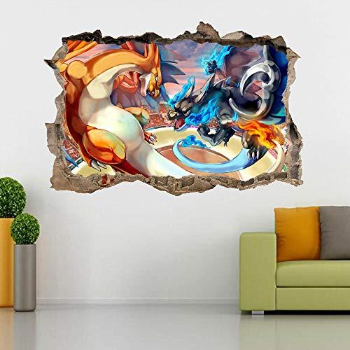 BFLOF Wandaufkleber Feueratmender Drache Zauberer Pokémon 3D Smashing Hole Wandtattoo Aufkleber Diy Wandbild Cartoon Für Kinder