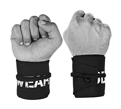 WOD Wear Wrist Wraps for Powerlifting, Strength Training, Bodybuilding, Cross Training, Olympic Weightlifting, Yoga Support - One Size Fits All - 100% (Black)
