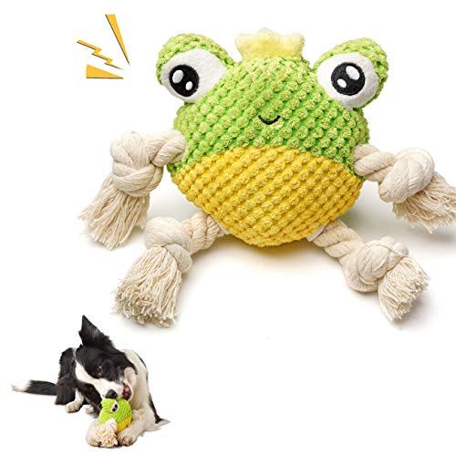 UNIWILAND Squeaky Plush Dog Toys for Dogs, Ocean Series Durable Stuffed Dog Chew Toy, Interactive Cute Soft Puppy Toys for Reducing Boredom, Teeth Cleaning, for Small Medium Large Dogs (Frog)
