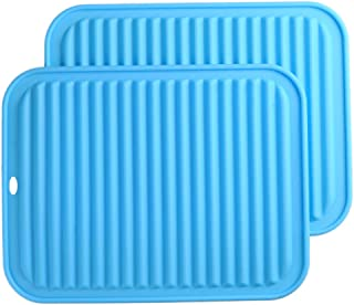 "Big Silicone Trivets mat set of 2 Smithcraft 9""X12"" Multi-purpose Drying Trivet Mat, Pot Holder, Waterproof, Non Slip, Flexible, Durable, Dishwasher Safe Blue"