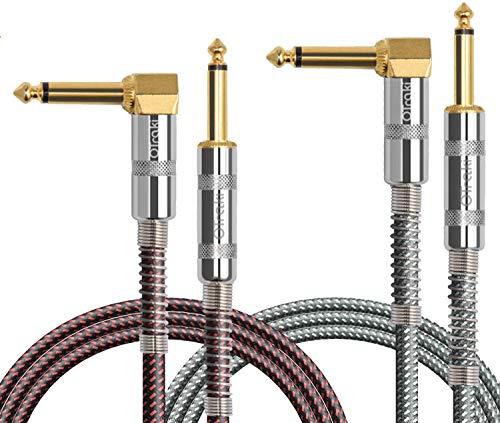 OTraki Cable Guitarra Eléctrica 1M (3ft) 2 Pack 6.35mm Cables Instrumento de Forma L Recto a Ángulo Recto Chapado en Oro, Cable Audio para Guitarra Bajo Teclado Efectos Micrófono Mezclador