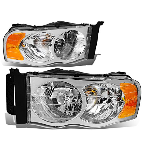 Pair of Chrome Housing Amber Corner Headlight Headlamp Assembly Replacement for Dodge Ram 1500 2500 3500 Pick up 02-05