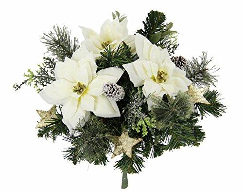 Flair Flower Kunst Blumen, Künstliche Pflanzen Bouquet Weihnachtsstern, Weiß, 27x25x25 cm