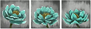 sechars - 3 Piece Canvas Wall Art Teal Blue Lotus Floral Painting Prints Modern Home Living Room Decoration Vintage Flower Artwork Gallery Canvas Wrapped Ready to Hang