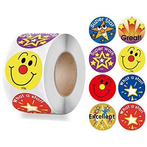 HUNSHA 500pcs/roll Smiley Face Sticker for Kids Cute Star Pattern Encourage Words School Teacher Supplier 1 inch Child Reward Stickers