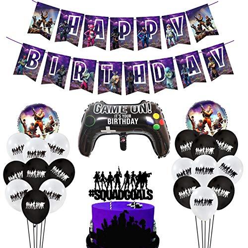 MIFIRE Video Gaming Partyzubehör Set Geburtstagsdeko Birthday Girlande mit Konfetti Luftballons,Joystick Controller Ballon für Jungen Geburtstagsfeier
