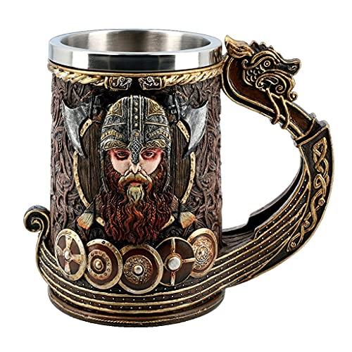Tazas Vaso De Cerveza Medieval Vintage Copa De Vino Vikinga Guerrero con Cuernos con Casco De Batalla Jarra De Cerveza con Revestimiento De Acero Inoxidable 20 Oz (Capacity : 600ml, Color : Br