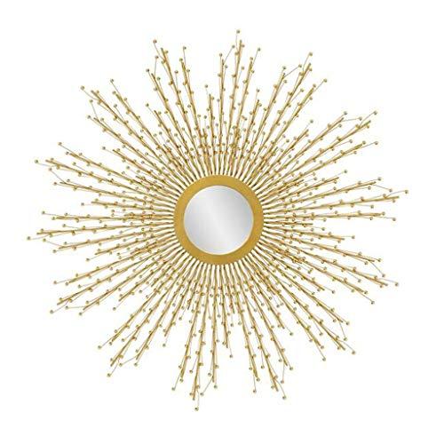 YXB Amerikanische Schmiedeeisen Wandbehang Sunburst Form Spiegel, Runde Stereo Spiegel Wohnzimmer-Wand-Porch Dekorative Spiegel, Gold J4/19