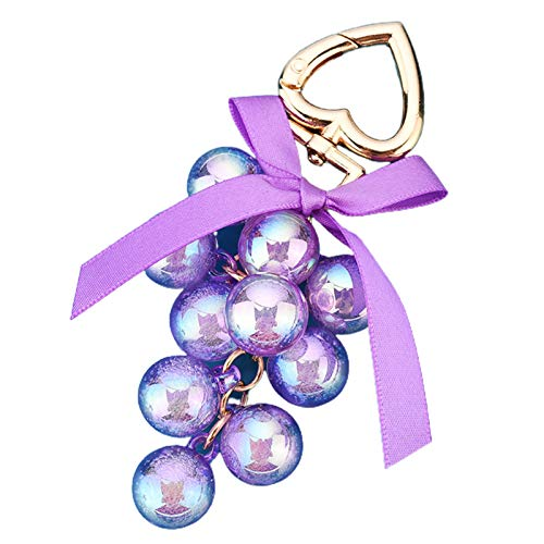 Asdf586io Cute and Charm Keychains, Shiny Solid Color Grape Bead String Pendant Keychain with Heart Shape Key Ring - Purple