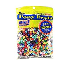 1,000 pony beads – plastic pony beads are perfect for a huge variety of kids crafts; This bag of 1,000 multicolor beads are 9 millimeter in diameter and come in a wide variety of colors. Package may vary – The multicolor pony beads are fun used on th...