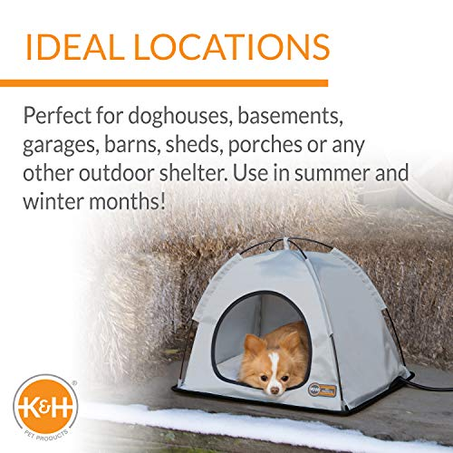 K&H Pet Products Thermo Tent Outdoor Heated Pet Shelter for Dogs & Cats Medium 19 X 24 X 16 Inches