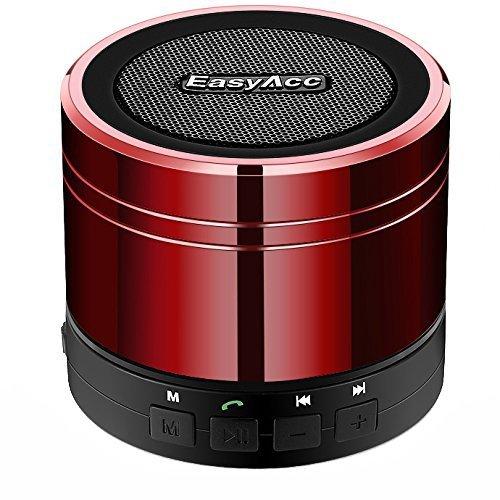 EasyAcc Mini Portable Bluetooth 4.0 Lautsprecher Speaker mit Multifunktions (FM Radio, 3,5 mm Audio, Micro SD Karte Slot, Mikrofon) Rot