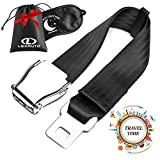 LexAuto Airplane Seat Belt Extender set │ FAA Approved Seatbelt Extender 7-24' │ Leather Bag and Double-sided Sleep mask │ Fits all American Airlines except Southwest │ Type A universal