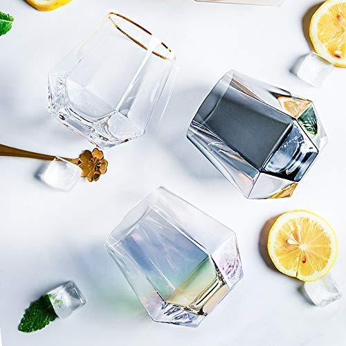 Cosmouk 400 ml té de la taza de cristal de plomo para el hogar para el whisky de diamante de cristal RAM de la taza de agua de la taza de agua o la taza de la taza de vino Taza de desayuno, etc.