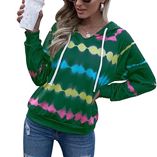 OtoñO E Invierno Mujer Moda Casual con Capucha Tie-Dye Estampado SuéTer Suelto Color Degradado Camisa De Manga Larga Mujer