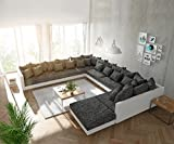 DELIFE Couch Clovis modular - Ecksofa, Sofa, Wohnlandschaft & Modulsofa (Schwarz/Weiss, Sofa XXL Links mit Hocker)