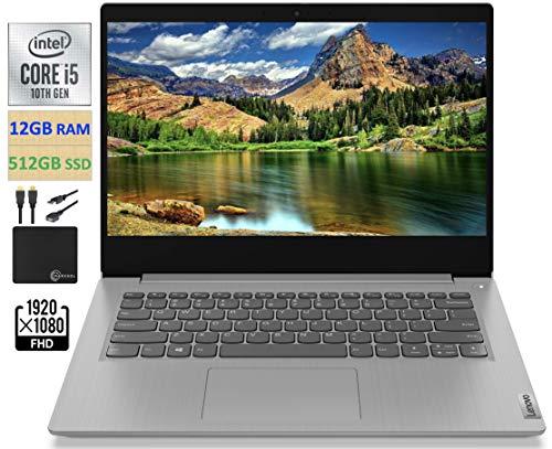 "2021 Newest Lenovo IdeaPad 3 14"" FHD Screen Laptop Computer, Intel Quad-Core i5-1035G1 Up to 3.6GHz (Beats i7-8550U), 12GB DDR4 RAM, 512GB PCI-e SSD, Webcam, WiFi, HDMI, Windows 10 + Marxsol Cables"