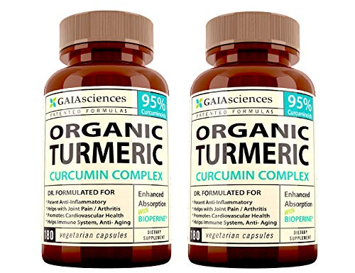 Turmeric Curcumin With Bioperine: Best Support Natural Supplements For Sore Muscle & Joint Pain Supplement Made With Organic Tumeric Curcumin Supplement 95 Percent Cucurmin Tumeric Black Pepper 2 Pack
