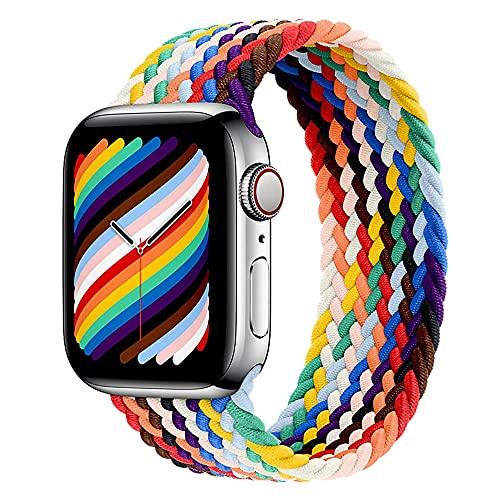Leishouer Braided Solo Loop Compatible con Apple Watch Correa 38mm 40mm 42mm 44mm Nailon Pulsera Repuesto, Correas Trenzada Elástica para iWatch Serie 6/SE/5/4/3/2,38mm/40mm-M Pride Edition