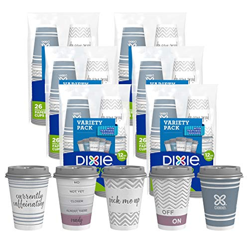 Dixie to Go Disposable Hot Beverage Paper Coffee Cups with Lids, 12 Oz, 156 Count, Assorted Designs, Gold (23710)