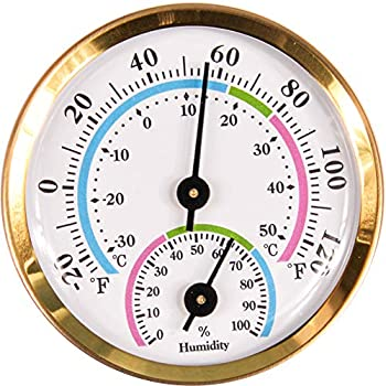 CHIVENIDO Indoor Outdoor Thermometer Wireless Mini Thermometer Hygrometer for car Greenhouse Baby Room Freezer No Battery Required Hanging Hygrometer Round 2  in Diameter  Golden
