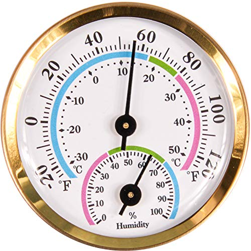 """CHIVENIDO Indoor Outdoor Thermometer Wireless, Mini Thermometer Hygrometer for car, Greenhouse, Baby Room, Freezer, No Battery Required Hanging Hygrometer Round 2"""" in Diameter (Golden)"""