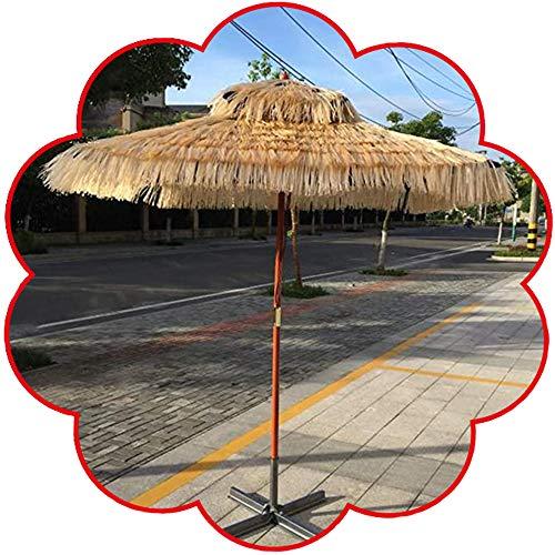 Parasol Carré Tiki avec Base Croisée Parapluie Chaume Hawaïen Imitant La Paille Auvent Soleil D'été UPF50 + (Couleur Naturelle)