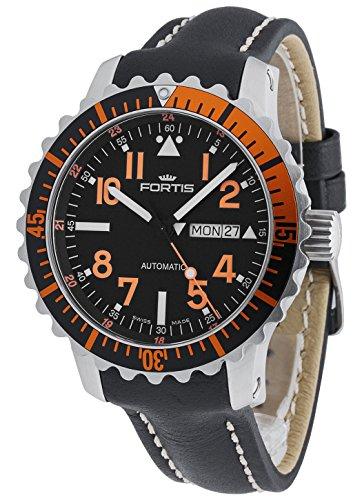 Fortis Herren-Armbanduhr Aquatis Marinemaster Datum Wochentag Analog Automatik Orange 670.19.49 L.01