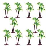 JinYu 10 piezas de palmeras de coco para decoración de tartas, decoración de cupcakes, modelo de escenario para decoración de tartas o edificios paisajísticos