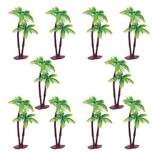 JinYu 10 Pcs Coconut Palm Model Trees/Cake Topper - Charming Cupcake Topper Scenery Model Scenery Model for Cake Decorations or Building Model Landscape