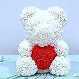 Ksnrang Festival de Regalo Regalo Creativo de Navidad Regalo de San Valentín Día de San Valentín Rose Oso Amazon Venta-Blanco con Caja de Regalo de corazón Rojo