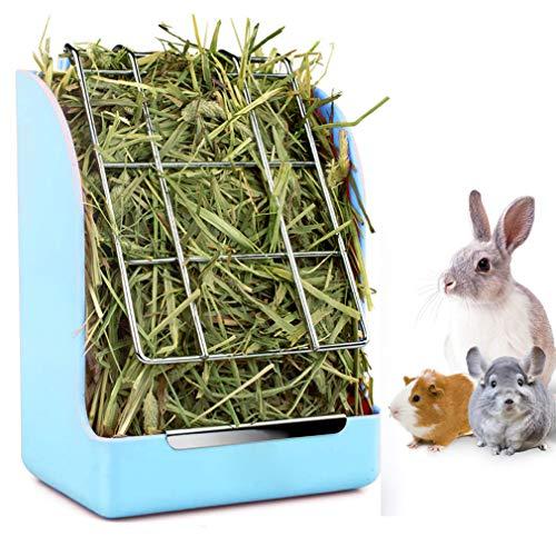 Kaninchen Futterautomat Hasen-Meerschweinchen-Futterautomat, Heu-Meerschweinchen-Futterautomat, Chinchilla-Kunststoff-Futterschleife (Blau)