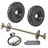 TDPRO Rear Axle Shaft Kit with 6' Wheels Tires Rims Brake Assembly and Chain & Sprocket for Go Kart Quad Trike Drift Bikes