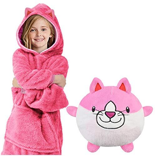 heekpek Albornoz Niño Animales Pijama Niña Manta Sudadera con Capucha Cálida Manta Ropa de Dormir 2 en 1 y Almohada para Mascotas Retráctil para Niñas y Niños