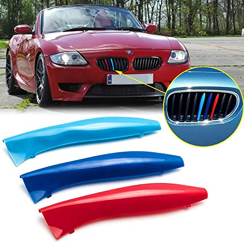 Price comparison product image BizTech ® Clip In Grille Inserts Compatible with BMW Z4 E85 2002-2008 9 Beams Stats Bars M Power Hood Kidney Stripes Cover