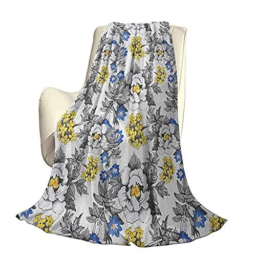 Colcha de jardín, Moderna y Elegante, para Todas Las Estaciones, futón, peonía romántica, hortensias y Flores violetas Azules en boceto, Estilo artístico, Four Seasons, luz para Sala de Esta