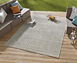 bougari In- und Outdoor Teppich Raute Grau Creme, 80x200 cm - 7