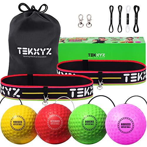 TEKXYZ ボクシング リフレックス ボール ファミリー パック、4 種類のボクシング ボール、ヘッドバンド付き、テニス ボールよりも柔らかく、リアクション、敏捷性、パンチング スピード、ファイト スキル、手と目のコーディネーション トレーニングに最適