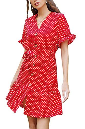 heekpek Vestidos Verano Mujer Gasa Escote V Vestidos Cortos de Lunares Playa Vestido Casual Mangas Cortas Vacaciones Volante Vestidos Elegantes con Cinturón