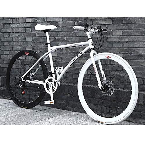 LWJPP 24 Marco de Velocidad de 26 Pulgadas Bicicleta de Carretera de Aluminio de Alta de Acero al Carbono de Doble Freno de Disco Hombres Mujeres Ubicación de Velocidad Bicicletas 2020 Nuevo