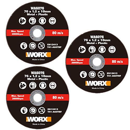 WORX WA6076.3 X3 - Cuchillas de corte de metal para cortadora WX801 (76 mm)
